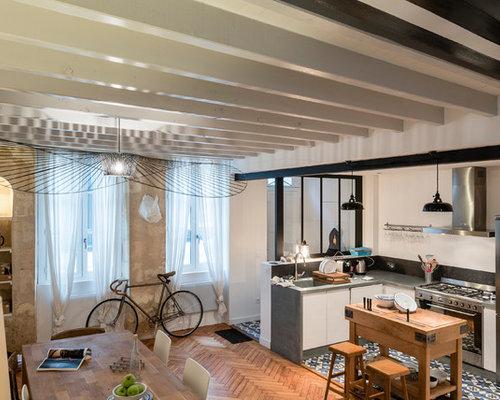 eklektische k chen mit zink arbeitsplatte ideen design bilder houzz. Black Bedroom Furniture Sets. Home Design Ideas