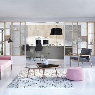 Exemple d'une cuisine parallèle scandinave de taille moyenne avec des portes de placard en bois clair, un plan de travail en stratifié, un électroménager en acier inoxydable et un îlot central.