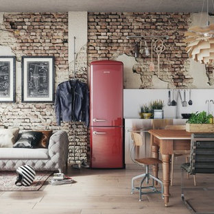 Design ideas for a mid-sized industrial open plan kitchen in Paris with a double-bowl sink, flat-panel cabinets, white cabinets, zinc benchtops, metallic splashback, metal splashback, coloured appliances, dark hardwood floors, no island and brown floor.