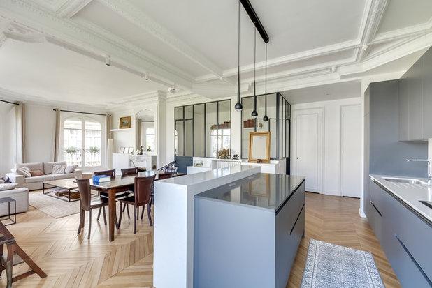 Visite priv e un haussmannien r agenc pour cr er une - Plan de maison avec cuisine ouverte ...