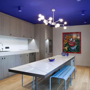 Cette image montre une cuisine design.