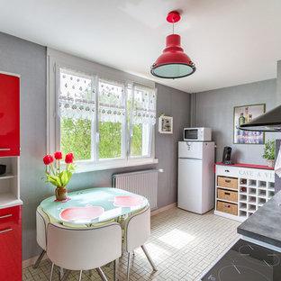 Idée de décoration pour une cuisine bohème fermée avec un évier 2 bacs, un placard à porte plane, des portes de placard rouges, une crédence grise, un électroménager en acier inoxydable et aucun îlot.