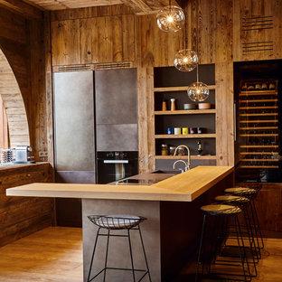 Cuisine ouverte montagne : Photos et idées déco de cuisines ouvertes