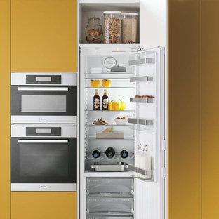 Cette image montre une cuisine linéaire design fermée et de taille moyenne avec aucun îlot.