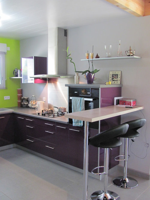 All Time Favorite Kitchen With Gray Backsplash And Purple