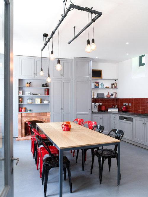 amnagement dune cuisine amricaine contemporaine en l avec un placard porte shaker - Cuisine Grise Et Rouge