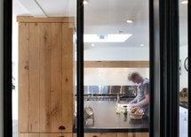 Porte en verre coulissante pour cuisine