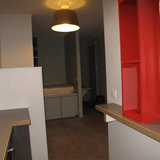 Small contemporary single-wall open plan kitchen in Paris with open cabinets, red cabinets, laminate benchtops, white splashback, ceramic splashback, stainless steel appliances, concrete floors and grey benchtop.
