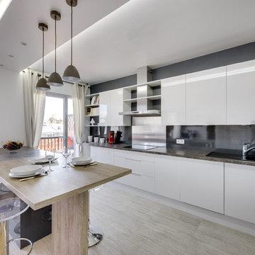 Ouverture cuisine sur pièce à vivre avec création d'un ilot central