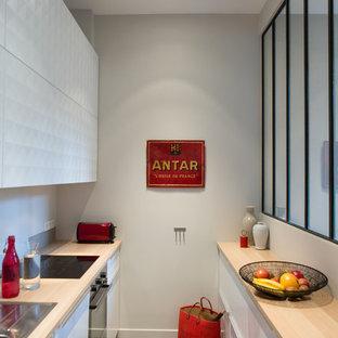 Aménagement d'une cuisine parallèle contemporaine fermée et de taille moyenne avec des portes de placard blanches et aucun îlot.