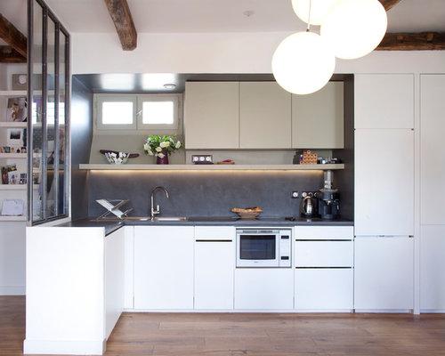 cuisine avec une cr dence grise photos et id es d co de cuisines. Black Bedroom Furniture Sets. Home Design Ideas