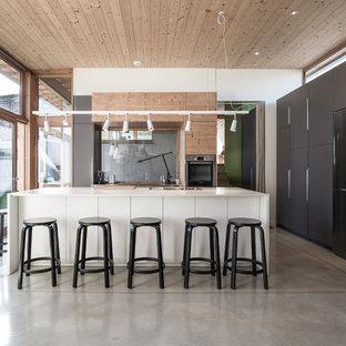 Idée de décoration pour une grand cuisine américaine parallèle design avec un placard à porte plane, une crédence en feuille de verre, un électroménager en acier inoxydable, béton au sol, un îlot central, un sol gris, un évier 1 bac, une façade en inox et une crédence grise.