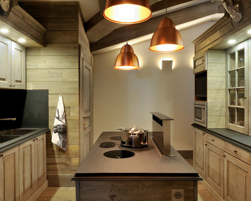 Mid Sized Rustic Galley Medium Tone Wood Floor Enclosed Kitchen Idea In  Lyon With A
