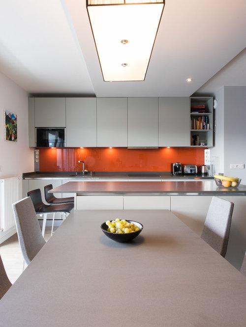 Projet cuisine salon lin aire avec grand lot central - Cuisine parallele avec ilot ...