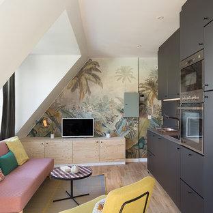 Exemple d'une petite cuisine américaine linéaire exotique avec un évier encastré, des portes de placard noires, une crédence en carreau de terre cuite, un électroménager encastrable, un sol en bois clair et aucun îlot.