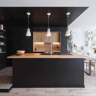 Rénovation d'un appartement à Paris-Buttes Chaumont - Cuisine contemporaine