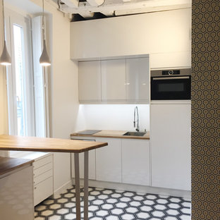 75 Beautiful Cement Tile Floor Kitchen With Beaded Inset Cabinets