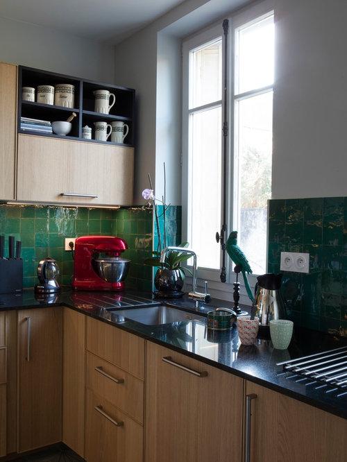 k chen mit r ckwand aus terrakottafliesen und betonboden ideen design bilder houzz. Black Bedroom Furniture Sets. Home Design Ideas