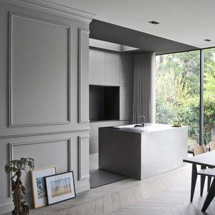 Cette photo montre une cuisine américaine parallèle tendance avec un placard à porte plane, des portes de placard grises et un îlot central.