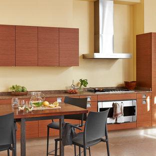 Aménagement d'une grande cuisine américaine linéaire contemporaine avec un placard à porte plane, des portes de placard en bois brun, un électroménager en acier inoxydable et un îlot central.