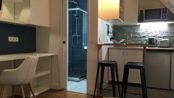 Studio a Paris 17éme refait par Amplidecor renovation