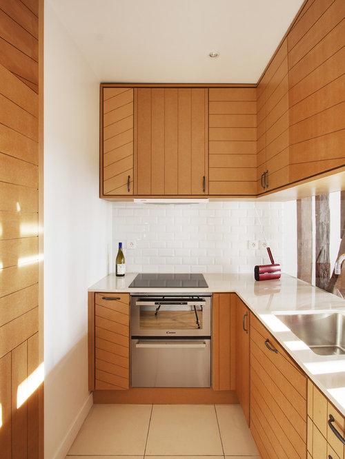Carrelage de cuisine blanche photos et id es d co for Petite cuisine americaine