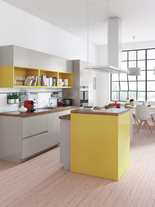 cuisine moderne avec un plan de travail en bois photos et id es d co de cuisines. Black Bedroom Furniture Sets. Home Design Ideas