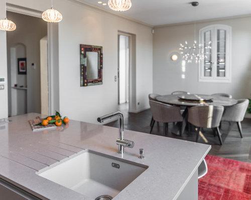 Cucina ad ambiente unico con top in quarzo composito Nizza - Foto e ...