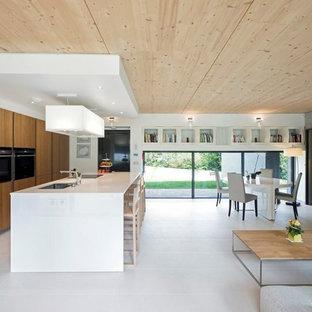 Exemple d'une grande cuisine ouverte parallèle tendance avec un évier 1 bac, des portes de placard en bois brun, un électroménager encastrable et un îlot central.