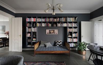 Stue i København: Makeover med bøger og dybe toner i centrum