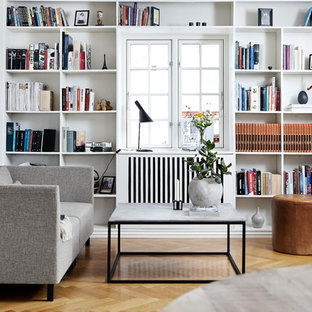 Inspiration For A Small Scandinavian Enclosed Beige Floor And Light Wood  Floor Living Room Library Remodel