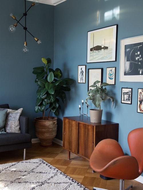 Soggiorno scandinavo con pareti blu foto e idee per arredare for Soggiorno blu roma