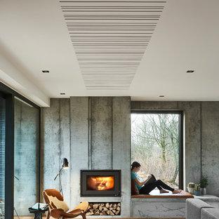 Foto de salón para visitas minimalista, de tamaño medio, con paredes grises y suelo de madera en tonos medios