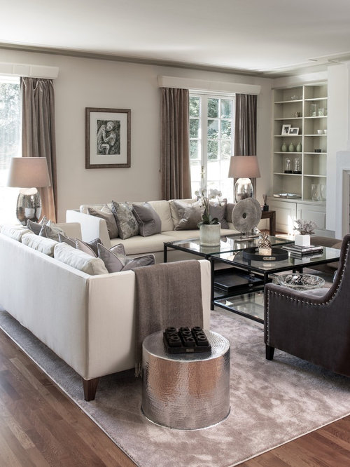 Houzz Transitional Living Room With White Walls Design