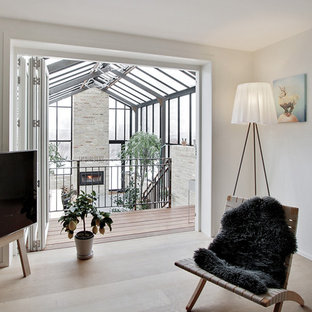 Inspiration For A Mid Sized Scandinavian Living Room Remodel In Aalborg