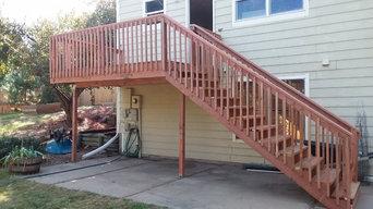 12x8 redwood tone Elevated Deck Build