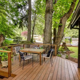 Example of a classic backyard deck design in Seattle