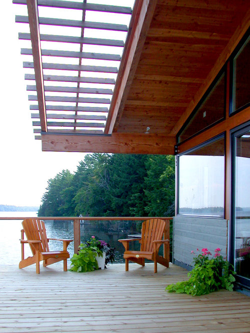Wood slat overhang home design ideas pictures remodel for Balcony overhang