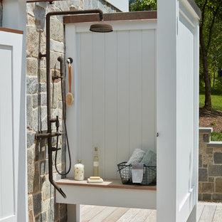 Outdoor shower deck - mid-sized coastal outdoor shower deck idea in Baltimore