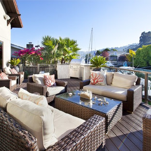 Design ideas for a medium sized mediterranean back terrace and balcony in San Francisco with an outdoor kitchen and no cover.