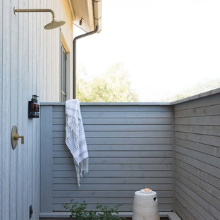 Inspiration for a country deck in San Francisco with an outdoor shower.