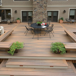 Inspiration for a large modern backyard deck remodel in Baltimore with no cover