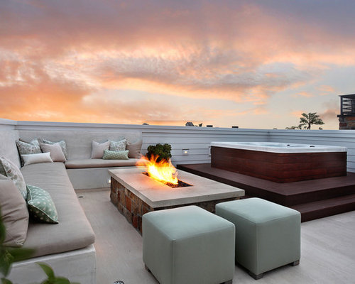 Rooftop hot tub houzz for Rooftop patio garden ideas