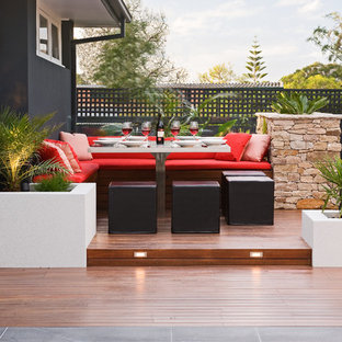 Inspiration for a large contemporary backyard deck in Melbourne with no cover.