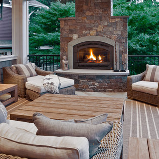 Deck - traditional deck idea in Seattle with a fire pit
