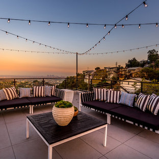Photo of a large midcentury roof terrace and balcony in Los Angeles with no cover.