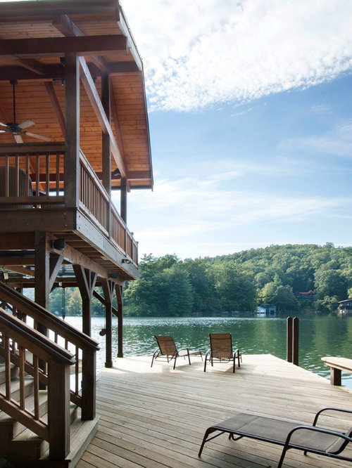 Mid Sized Traditional Side Yard Dock Idea In Other With A Roof Extension