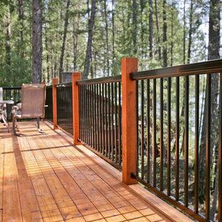 Réalisation d'une terrasse arrière craftsman de taille moyenne avec aucune couverture.