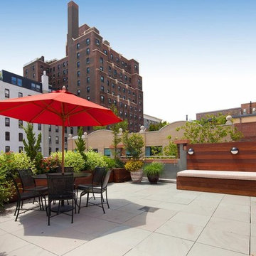 Brooklyn Heights, NYC Roof Garden Deck: Bluestone Patio, Bench, Planter Boxes, T
