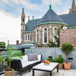 Large danish rooftop deck photo in New York with a roof extension